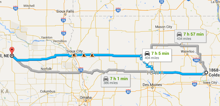 Map of my trip from Cedar Rapids, IA to O'Neill. NE